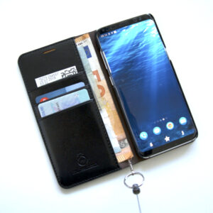 grommeted leather mobile phone wallet