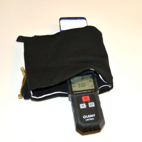 Note reading on electromagnetic radiation meter is 0V/m, when phone is placed inside the hipi while receiving a call